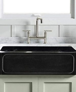 33 Marietta Smooth Polished Black Granite Single Bowl Farmhouse Sink Recessed Front 0 300x360