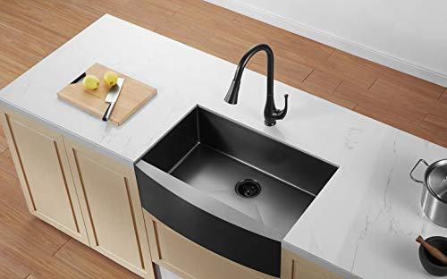 Luxury 33 inch Farmhouse Apron Kitchen Sink Stainless Steel Nano Surface 10  inch deep, Gunmetal Black