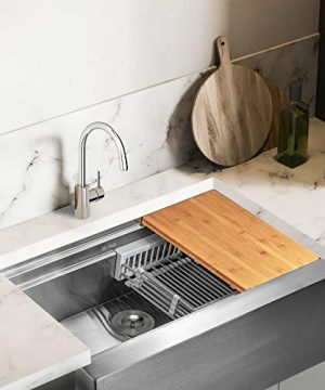 AKDY 33 Inch 33x20x9 Apron Farmhouse Handmade Stainless Steel Kitchen Sink Single Bowl Space Saving Kitchen Sink Kitchen Sink With Drain Strainer Kit Adjustable Tray And Cutting Board 0 0 300x360