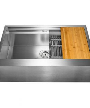 AKDY 33 Inch 33x20x9 Apron Farmhouse Handmade Stainless Steel Kitchen Sink Single Bowl Space Saving Kitchen Sink Kitchen Sink With Drain Strainer Kit Adjustable Tray And Cutting Board 0 2 300x360