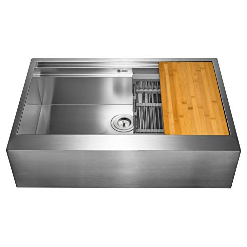 AKDY 33 Inch 33x20x9 Apron Farmhouse Handmade Stainless Steel Kitchen Sink Single Bowl Space Saving Kitchen Sink Kitchen Sink With Drain Strainer Kit Adjustable Tray And Cutting Board 0 2