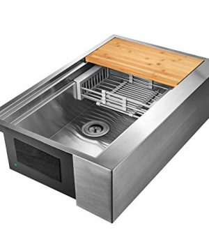 AKDY 33 Inch 33x20x9 Apron Farmhouse Handmade Stainless Steel Kitchen Sink Single Bowl Space Saving Kitchen Sink Kitchen Sink With Drain Strainer Kit Adjustable Tray And Cutting Board 0 3 300x360