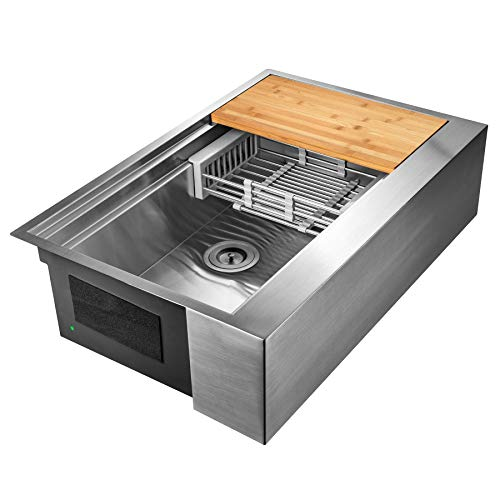 AKDY 33 Inch 33x20x9 Apron Farmhouse Handmade Stainless Steel Kitchen Sink Single Bowl Space Saving Kitchen Sink Kitchen Sink With Drain Strainer Kit Adjustable Tray And Cutting Board 0 3