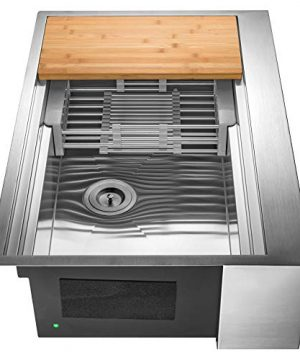 AKDY Handmade Farmhouse Undermount Kitchen Sink 33 X 22 X 9 Stainless Steel Single Bowl Apron Front Sink Design With Accessories 0 300x360