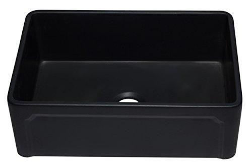 ALFI Brand AB3020SB BM 30 Reversible Single Fireclay Farmhouse Kitchen Sink Black Matte 0 1