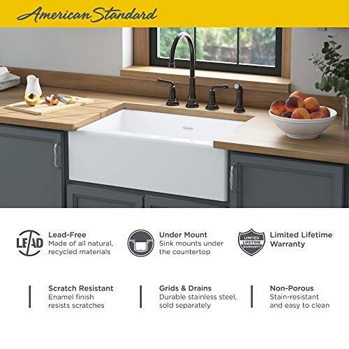 American Standard 77SB30220A308 Delancey 30 X 22 Single Bowl Apron Front Cast Iron Kitchen Sink 30 X 22 Inch Brilliant White 0 1