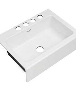 American Standard 77SB30220A308 Delancey 30 X 22 Single Bowl Apron Front Cast Iron Kitchen Sink 30 X 22 Inch Brilliant White 0 300x360