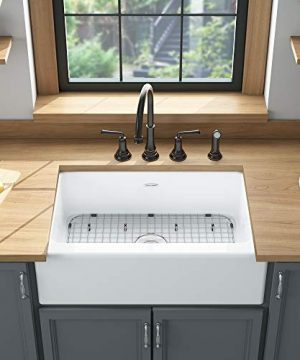 American Standard 77SB30220A308 Delancey 30 X 22 Single Bowl Apron Front Cast Iron Kitchen Sink 30 X 22 Inch Brilliant White 0 4 300x360