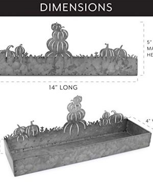 AuldHome Fall Decor Galvanized Tray Field Of Pumpkins Silhouette Farmhouse Decor Metal Tray 14 X 4 X 5 Inches 0 1 300x360