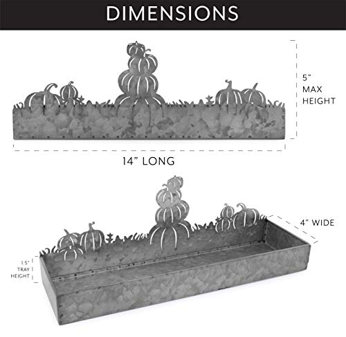 AuldHome Fall Decor Galvanized Tray Field Of Pumpkins Silhouette Farmhouse Decor Metal Tray 14 X 4 X 5 Inches 0 1
