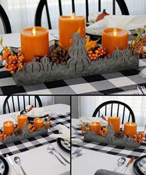AuldHome Fall Decor Galvanized Tray Field Of Pumpkins Silhouette Farmhouse Decor Metal Tray 14 X 4 X 5 Inches 0 2 300x360