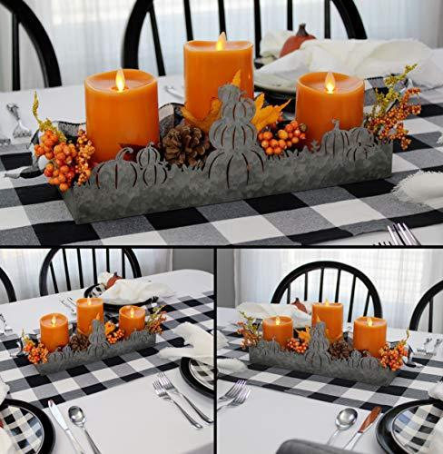 AuldHome Fall Decor Galvanized Tray Field Of Pumpkins Silhouette Farmhouse Decor Metal Tray 14 X 4 X 5 Inches 0 2