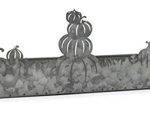 AuldHome Fall Decor Galvanized Tray Field Of Pumpkins Silhouette Farmhouse Decor Metal Tray 14 X 4 X 5 Inches 0 3 300x235