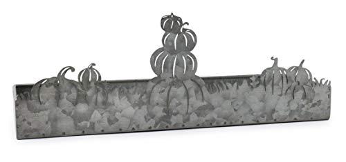 AuldHome Fall Decor Galvanized Tray Field Of Pumpkins Silhouette Farmhouse Decor Metal Tray 14 X 4 X 5 Inches 0 3