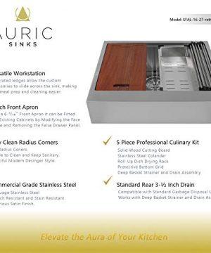 Auric Sinks 27 Retro Fit Farmhouse Flat Front Apron Ledge Single Bowl Stainless Steel Kitchen Sink Sfal 16 27 Retro Sgl Combo Farmhouse Goals