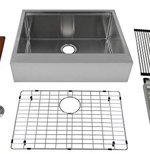 Auric Sinks 27 Retro Fit Farmhouse 6 Flat Front Apron Ledge Single Bowl Stainless Steel Kitchen Sink SFAL 16 27 Retro SGL COMBO 0 300x307