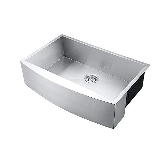 CALASPA 30-Inch (30\'\'x 21\'\'x 9\'\') Apron Farmhouse Handmade Kitchen Sink 18  Gauge Stainless Steel Single Bowl Undermount Drop In Bar Sink with Drain ...