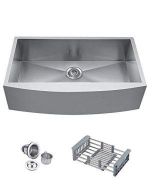 BATH MASTER 30 Inch 30x 21x 9 Apron Farmhouse Handmade Kitchen Sink 18 Gauge Stainless Steel Single Bowl Undermount Drop In Bar Sink With Drain Strainer KitFS3021 0 300x360