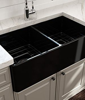 BOCCHI 1139 005 0120 Classico Apron Front Fireclay 33 In Double Bowl Kitchen Sink With Protective Bottom Grid And Strainer Glossy Black 0 0 300x350