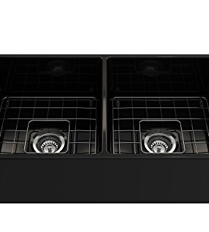 BOCCHI 1139 005 0120 Classico Apron Front Fireclay 33 In Double Bowl Kitchen Sink With Protective Bottom Grid And Strainer Glossy Black 0 1 300x333