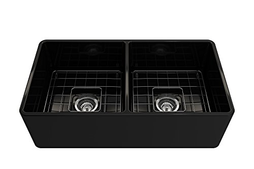 BOCCHI 1139 005 0120 Classico Apron Front Fireclay 33 In Double Bowl Kitchen Sink With Protective Bottom Grid And Strainer Glossy Black 0 1
