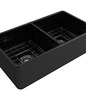 BOCCHI 1139 005 0120 Classico Apron Front Fireclay 33 In Double Bowl Kitchen Sink With Protective Bottom Grid And Strainer Glossy Black 0 2 300x333
