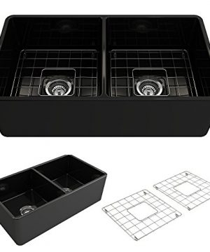 BOCCHI 1139 005 0120 Classico Apron Front Fireclay 33 In Double Bowl Kitchen Sink With Protective Bottom Grid And Strainer Glossy Black 0 300x360