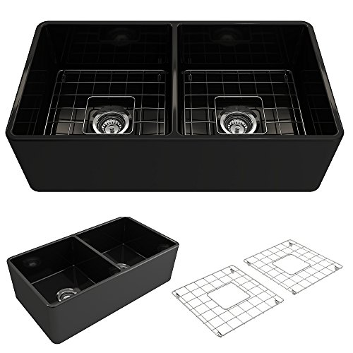 BOCCHI 1139 005 0120 Classico Apron Front Fireclay 33 In Double Bowl Kitchen Sink With Protective Bottom Grid And Strainer Glossy Black 0