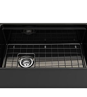 BOCCHI 1344 005 0120 Contempo Apron Front Step Rim Fireclay 30 In Single Bowl Kitchen Sink With Protective Bottom Grid And Strainer In Black Glossy 0 2 300x333