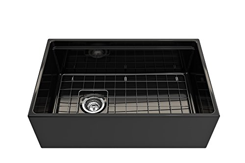 BOCCHI 1344 005 0120 Contempo Apron Front Step Rim Fireclay 30 In Single Bowl Kitchen Sink With Protective Bottom Grid And Strainer In Black Glossy 0 2