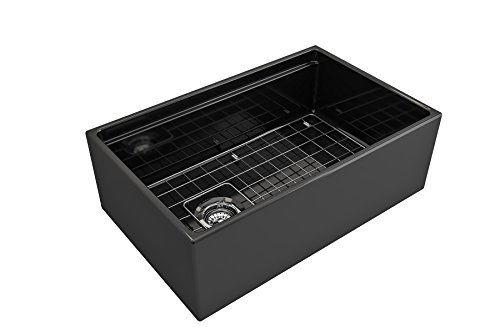 BOCCHI 1344 005 0120 Contempo Apron Front Step Rim Fireclay 30 In Single Bowl Kitchen Sink With Protective Bottom Grid And Strainer In Black Glossy 0 3