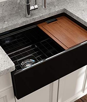 BOCCHI 1344 005 0120 Contempo Apron Front Step Rim Fireclay 30 In Single Bowl Kitchen Sink With Protective Bottom Grid And Strainer In Black Glossy 0 4 300x350