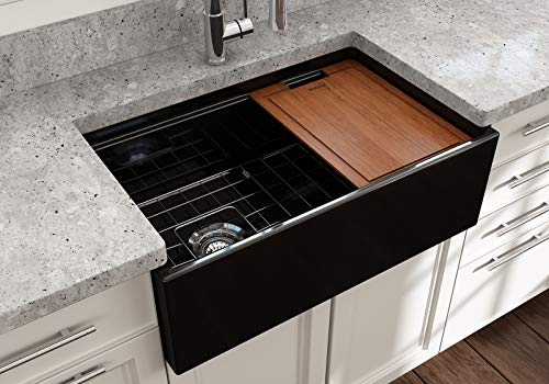 BOCCHI 1344 005 0120 Contempo Apron Front Step Rim Fireclay 30 In Single Bowl Kitchen Sink With Protective Bottom Grid And Strainer In Black Glossy 0 4