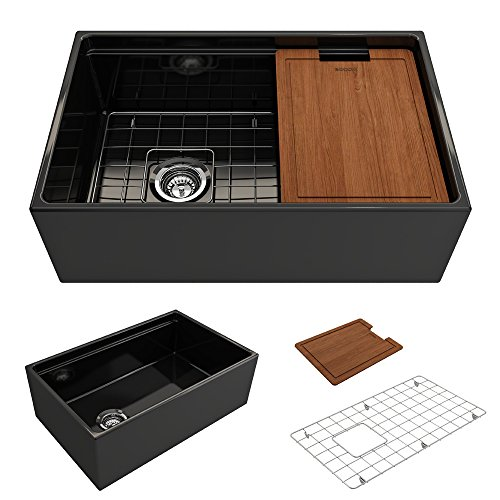 BOCCHI 1344 005 0120 Contempo Apron Front Step Rim Fireclay 30 In Single Bowl Kitchen Sink With Protective Bottom Grid And Strainer In Black Glossy 0