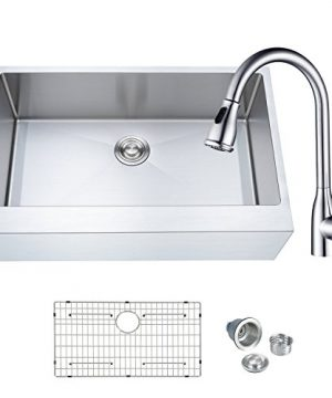 Billion BFC A3321 Apron Front Kitchen Sink 33 Inch 16 Gauge Stainless Steel Farmhouse Sinks WPull Down Kitchen Faucet 0 300x360