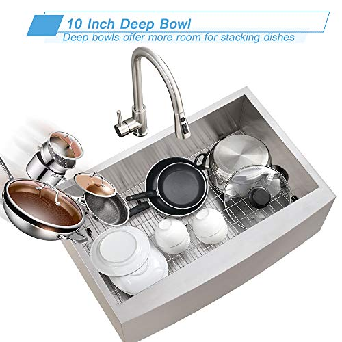 Bokaiya 33 Farmhouse Apron Front Sink Commercial 16 Gauge Undermount Deep Drop In Single Bowl Kitchen Sink Stainless Steel 0 5