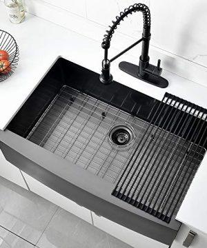 Bokaiya 33 Farmhouse Apron Sink Black 16 Gauge 10 Inch Deep Single Bowl Stainless Steel Kitchen Sink Matte Black 0 0 300x360