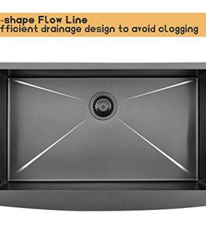 Bokaiya 33 Farmhouse Apron Sink Black 16 Gauge 10 Inch Deep Single Bowl Stainless Steel Kitchen Sink Matte Black 0 3 300x360