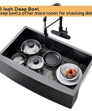 Bokaiya 33 Farmhouse Apron Sink Black 16 Gauge 10 Inch Deep Single Bowl Stainless Steel Kitchen Sink Matte Black 0 5 300x360