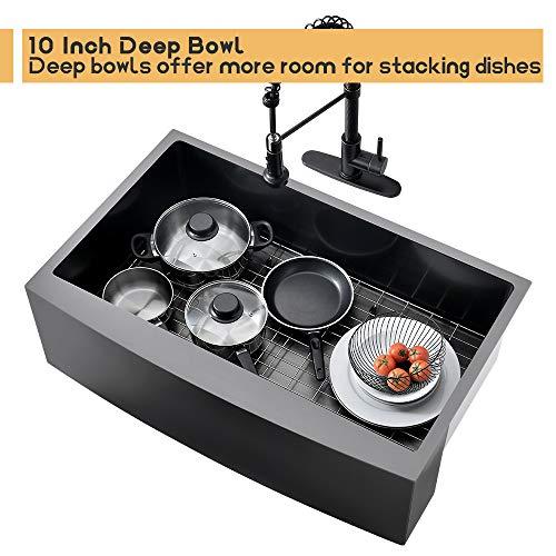 Bokaiya 33 Farmhouse Apron Sink Black 16 Gauge 10 Inch Deep Single Bowl Stainless Steel Kitchen Sink Matte Black 0 5