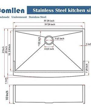 Commercial 36 Inch 304 Stainless Steel Farmhouse Kitchen Sink Single Bowl 16 Gauge 10 Inch Deep Handmade Undermount Kitchen Apron Sink 0 0 300x360