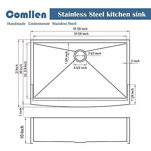 Commercial 36 Inch 304 Stainless Steel Farmhouse Kitchen Sink Single Bowl 16 Gauge 10 Inch Deep Handmade Undermount Kitchen Apron Sink 0 0