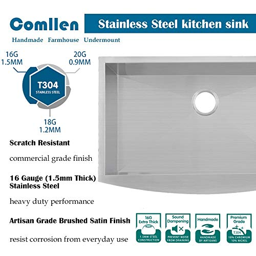 Commercial 36 Inch 304 Stainless Steel Farmhouse Kitchen Sink Single Bowl 16 Gauge 10 Inch Deep Handmade Undermount Kitchen Apron Sink 0 1