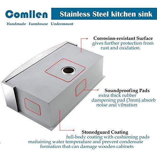 Commercial 36 Inch 304 Stainless Steel Farmhouse Kitchen Sink Single Bowl 16 Gauge 10 Inch Deep Handmade Undermount Kitchen Apron Sink 0 2
