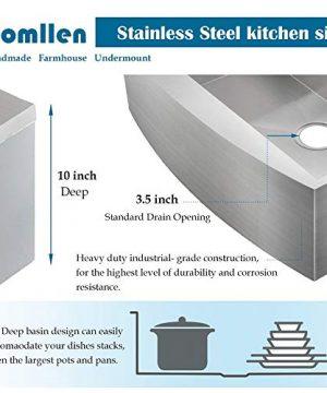 Commercial 36 Inch 304 Stainless Steel Farmhouse Kitchen Sink Single Bowl 16 Gauge 10 Inch Deep Handmade Undermount Kitchen Apron Sink 0 3 300x360