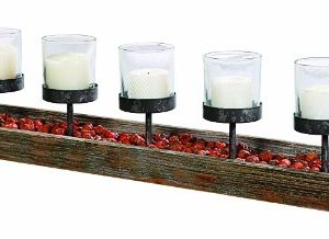 Creative Co Op 5 Metal Votive Candle Holders In Rectangle Wood Tray With Handles 0 300x218