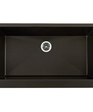 Elkay ELXUFP3620CA0 Quartz Luxe Single Bowl Farmhouse Sink With Perfect Drain Caviar 0 300x360