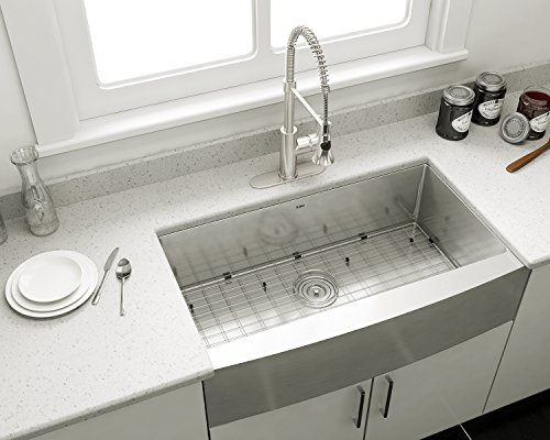 Enbol EAS3620 36 Inch Arc Apron Front Farmhouse Undermount Single Bowl  Stainless Steel Kitchen Sink with Protective Bottom Grid and Strainer, 10  Inch ...