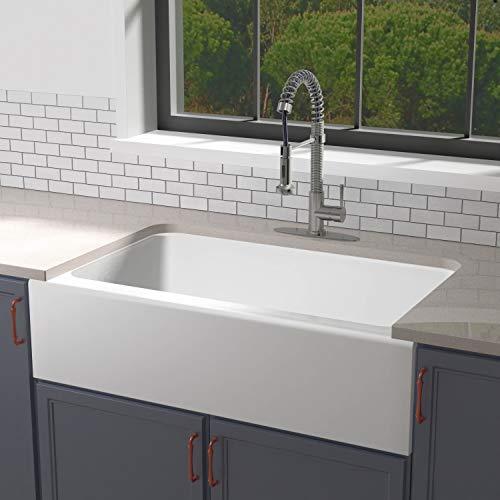 Enbol EFS3322 33 X 22 Inch Brilliant White Modern Enameled Cast Iron Apron Front Farmhouse Undermount Single Bowl Kitchen Sink Included Basket Strainer 0 1