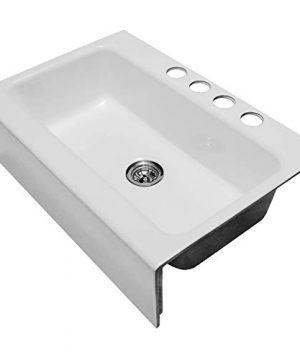 Enbol EFS3322 33 X 22 Inch Brilliant White Modern Enameled Cast Iron Apron Front Farmhouse Undermount Single Bowl Kitchen Sink Included Basket Strainer 0 2 300x360